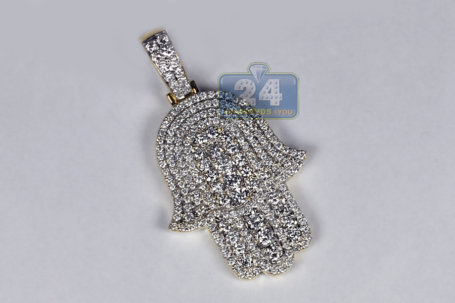 Mens full diamond hamsa hand pendant 14k yellow gold 227 ct mozeypictures