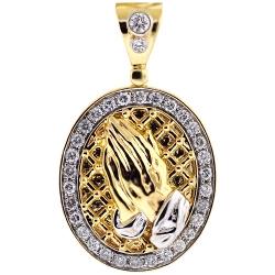 Mens Diamond Praying Hands Pendant 14K Yellow Gold 1.22 ct