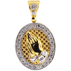 14K Yellow Gold 1.10 ct Diamond Praying Hands Mens Medallion