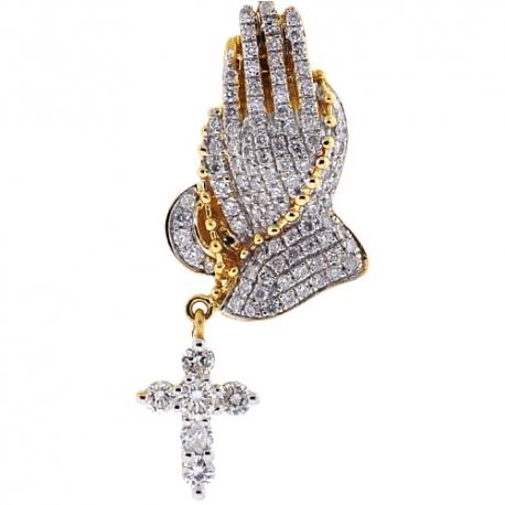 Mens Diamond Praying Hands Cross Pendant 14K Yellow Gold 1.23ct