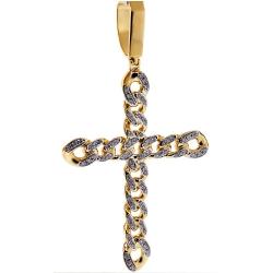 Mens Diamond Cuban Link Cross Pendant 14K Yellow Gold 1.15 ct