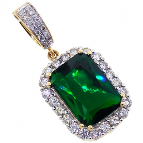 Mens Diamond Emerald Halo Drop Pendant 14K Yellow Gold 7.00ct