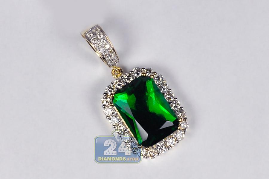Mens diamond green cz drop pendant 14k yellow gold 110 ct mozeypictures Choice Image