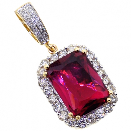 Mens Diamond Ruby Halo Drop Pendant 14K Yellow Gold 10.00ct