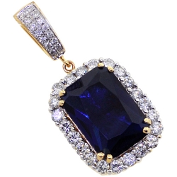14K Yellow Gold 10.00 ct Blue Sapphire Diamond Mens Pendant
