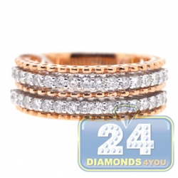 18K Rose Gold 0.80 ct Two Row Diamond Womens Ring