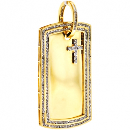 Mens Diamond Dog Tag ID Pendant 10K Yellow Gold 3.03 ct