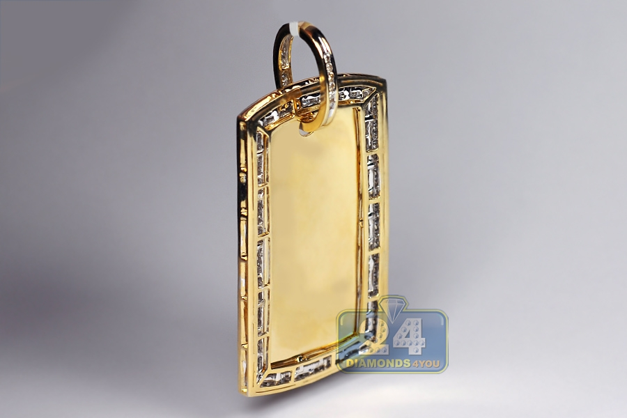 Mens diamond dog tag id pendant 10k yellow gold 303 ct aloadofball Choice Image
