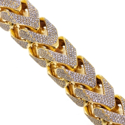 10K Yellow Gold 43.11 ct Diamond Franco Bracelet 410 grams