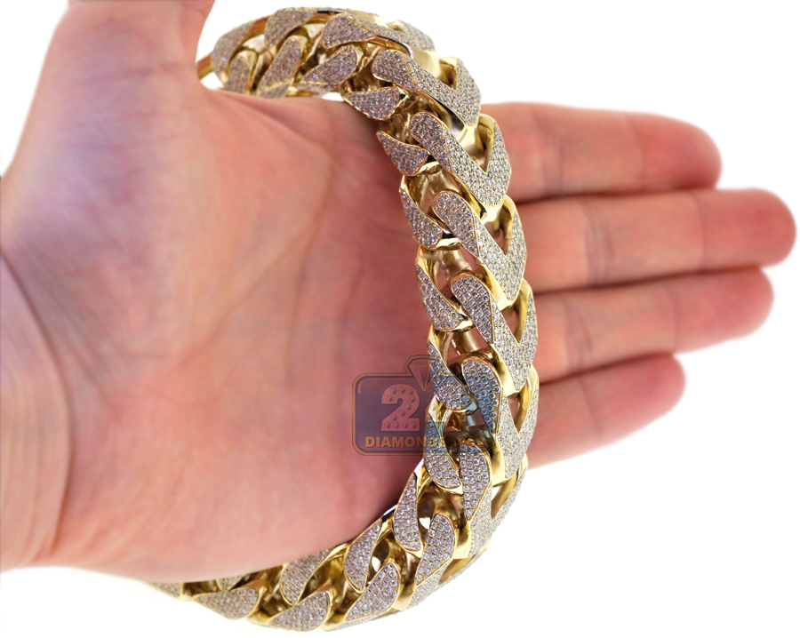 yellow bracelet gold ct mens franco diamond grams