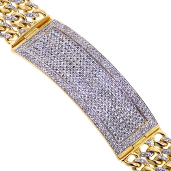 14K Yellow Gold 6.35 ct Diamond ID Cuban Link Mens Bracelet