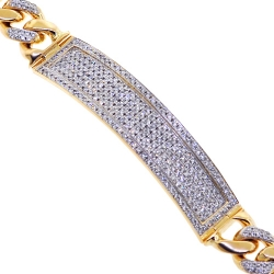 14K Yellow Gold 4.21 ct Diamond Cuban Mens ID Bracelet 9.25 inches