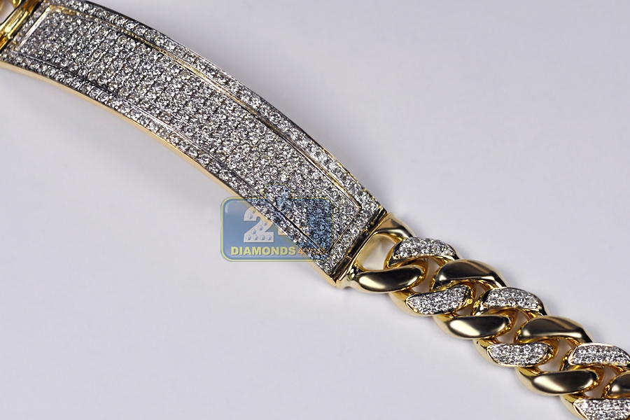 14K Yellow Gold 4.21 ct Diamond Cuban Mens ID Bracelet 9.25 inch a6922cb67