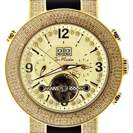Mens Diamond Automatic Gold Watch Joe Rodeo Soho JRSO1 4.00 ct