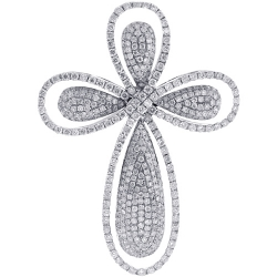 14K White Gold 2.93 ct Diamond Mens Halo Cross Pendant