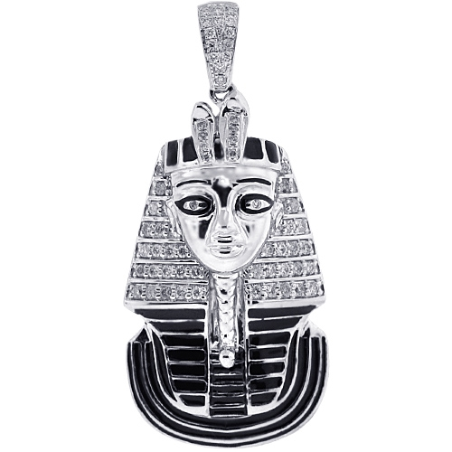 Mens diamond enamel pharaoh head pendant 10k white gold 056ct aloadofball Image collections
