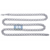 Solid 10K White Gold Russian Flat Bismark Mens Chain 7 mm