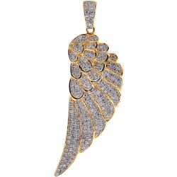 Mens Diamond Angel Wing Pendant Solid 14K Yellow Gold 1.72ct