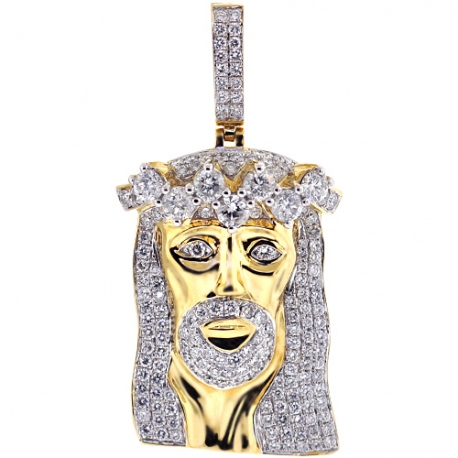 Mens Diamond Jesus Christ Head Pendant 14K Yellow Gold 5.85 ct