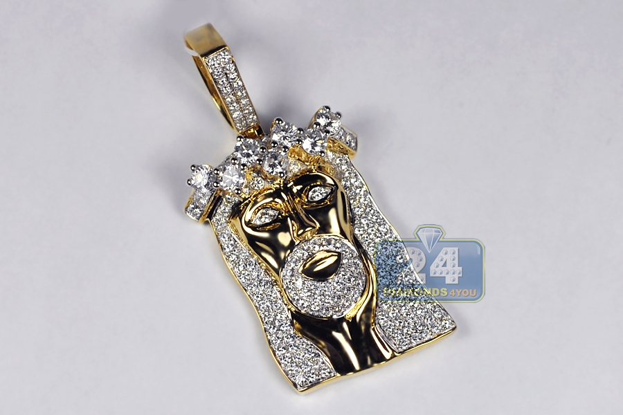 Mens diamond jesus christ head pendant 14k yellow gold 585 ct aloadofball Choice Image