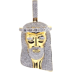 Mens Diamond Jesus Christ Face Pendant 14K Yellow Gold 5.02 ct