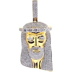 14K Yellow Gold 5.02 ct Diamond Jesus Christ Face Mens Pendant