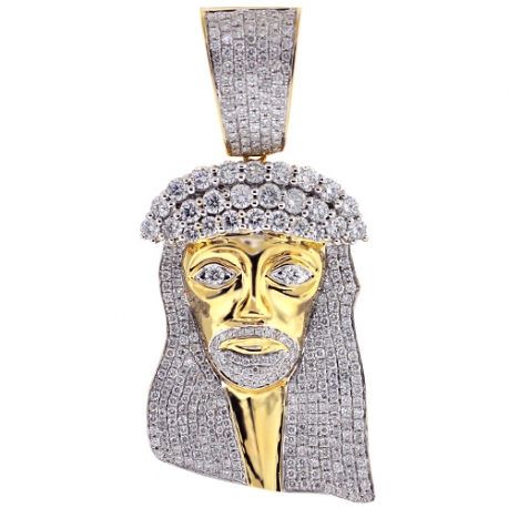Mens Diamond Jesus Christ Head Pendant 14K Yellow Gold 7.21 ct
