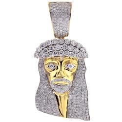 14K Yellow Gold 7.21 ct Diamond Jesus Christ Head Mens Pendant