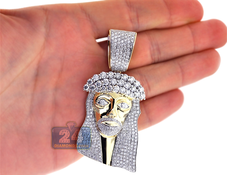 Mens diamond jesus christ head pendant 14k yellow gold 721 ct aloadofball Choice Image