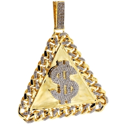 14K Yellow Gold 2.40 ct Diamond Dollar Sign Triangle Pendant