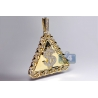 Mens Diamond Dollar Sign Triangle Pendant 14K Yellow Gold 2.40 ct