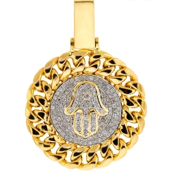 Mens Diamond Hamsa Hand Cuban Pendant 10K Yellow Gold 0.74ct