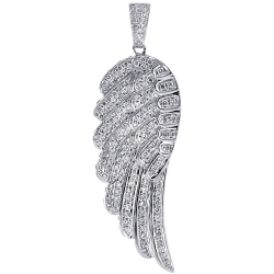 14K White Gold 1.60 ct Diamond Angel Wing Mens Pendant