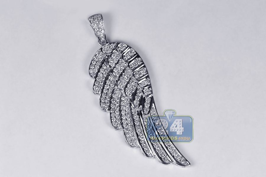 14k white gold 160 ct diamond angel wing mens pendant aloadofball Image collections