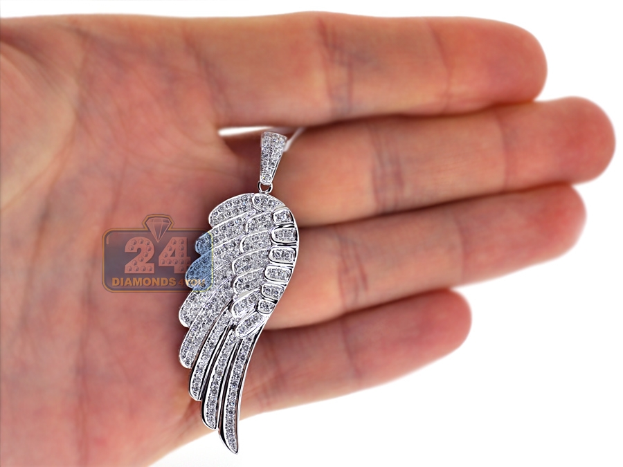 14k white gold 160 ct diamond angel wing mens pendant mozeypictures Choice Image