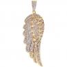 14K Yellow Gold 1.60 ct Diamond Angel Wing Mens Pendant