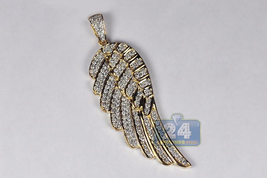 14k Yellow Gold 1 60 Ct Diamond Angel Wing Mens Pendant