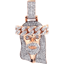 Mens Diamond Jesus Christ Head Small Pendant 14K Rose Gold 0.90ct