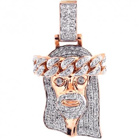 Mens Diamond Jesus Christ Head Small Pendant 14K Rose Gold 0.90ct