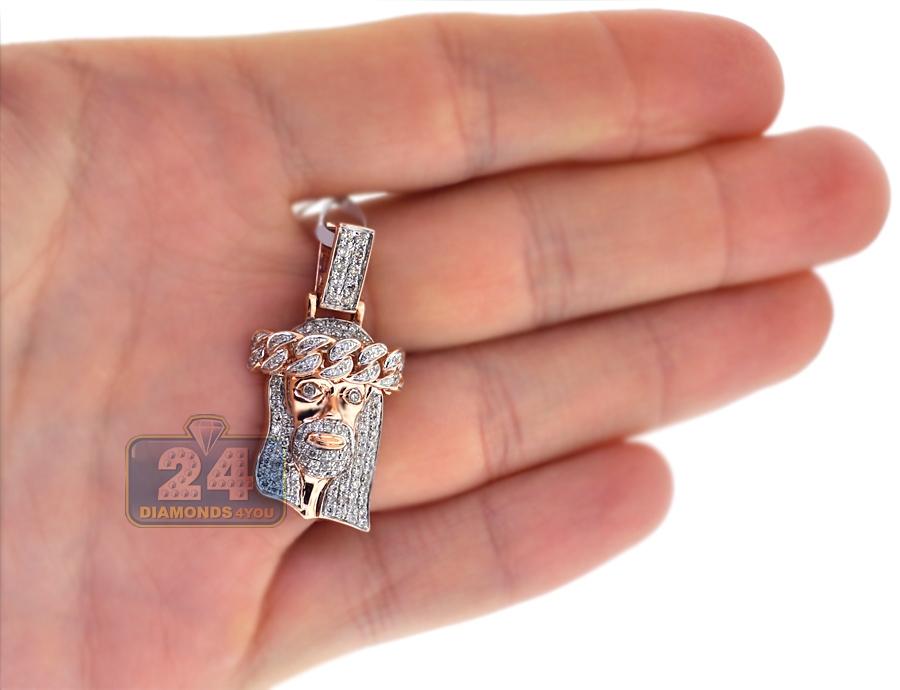 Mens Diamond Jesus Christ Head Small Pendant 14k Rose Gold
