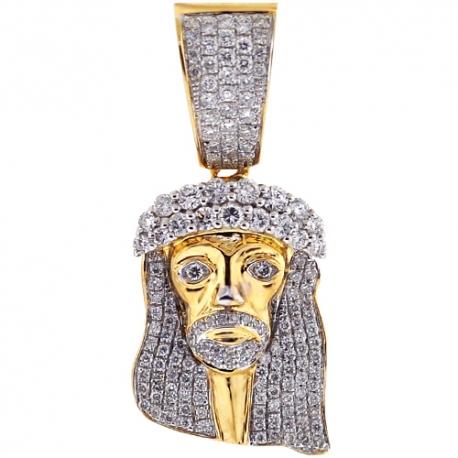 Mens Diamond Jesus Christ Face Pendant 14K Yellow Gold 1.50ct