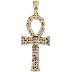14K Yellow Gold 1.64 ct Diamond Ankh Cross Mens Pendant