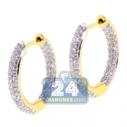 18K Yellow Gold 1.08 ct Diamond Womens Round Hoop Earrings