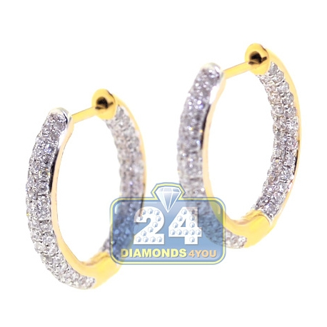 Womens Diamond Small Round Hoop Earrings 18K Yellow Gold 1.08 ct