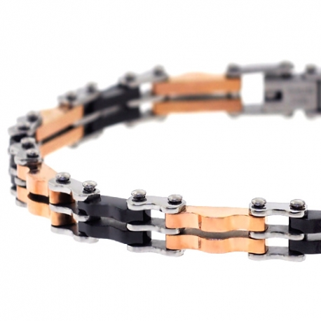 "Three Tone Stainless Steel Bicycle Link Mens Bracelet 8mm 8.25"""