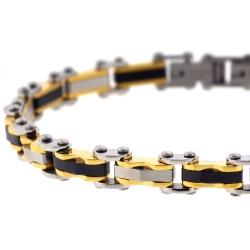 Tri-Tone Steel Bicycle Link Mens Bracelet 7 mm 8 1/2 inches
