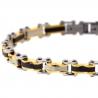 "Tri-Tone Stainless Steel Bicycle Link Mens Bracelet 7mm 8.5"""