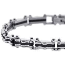 Two Tone Steel Bicycle Link Mens Bracelet 8 mm 8 1/2 inches