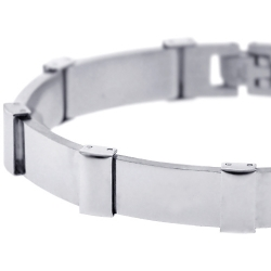 Stainless Steel Bar Link Mens Bracelet 11 mm 8 1/4 inches