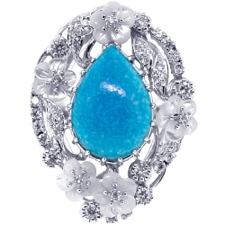 Womens Diamond Turquoise Ring 18K White Gold 0.70 ct